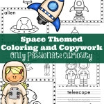 Space Themed Coloring and Copywork