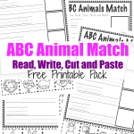 ABC animal match cut and paste pack