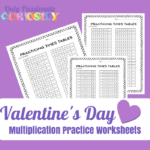 Valentine's Day Multiplication Practice Worksheets