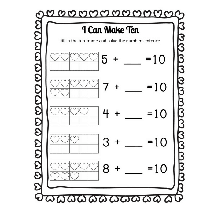 i heart math making 10 heart themed addition worksheets and games only passionate curiosity. Black Bedroom Furniture Sets. Home Design Ideas