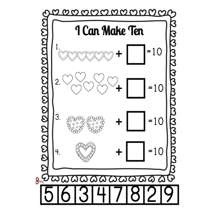 I Heart Math Making 10 Heart Themed Addition Worksheets And Games