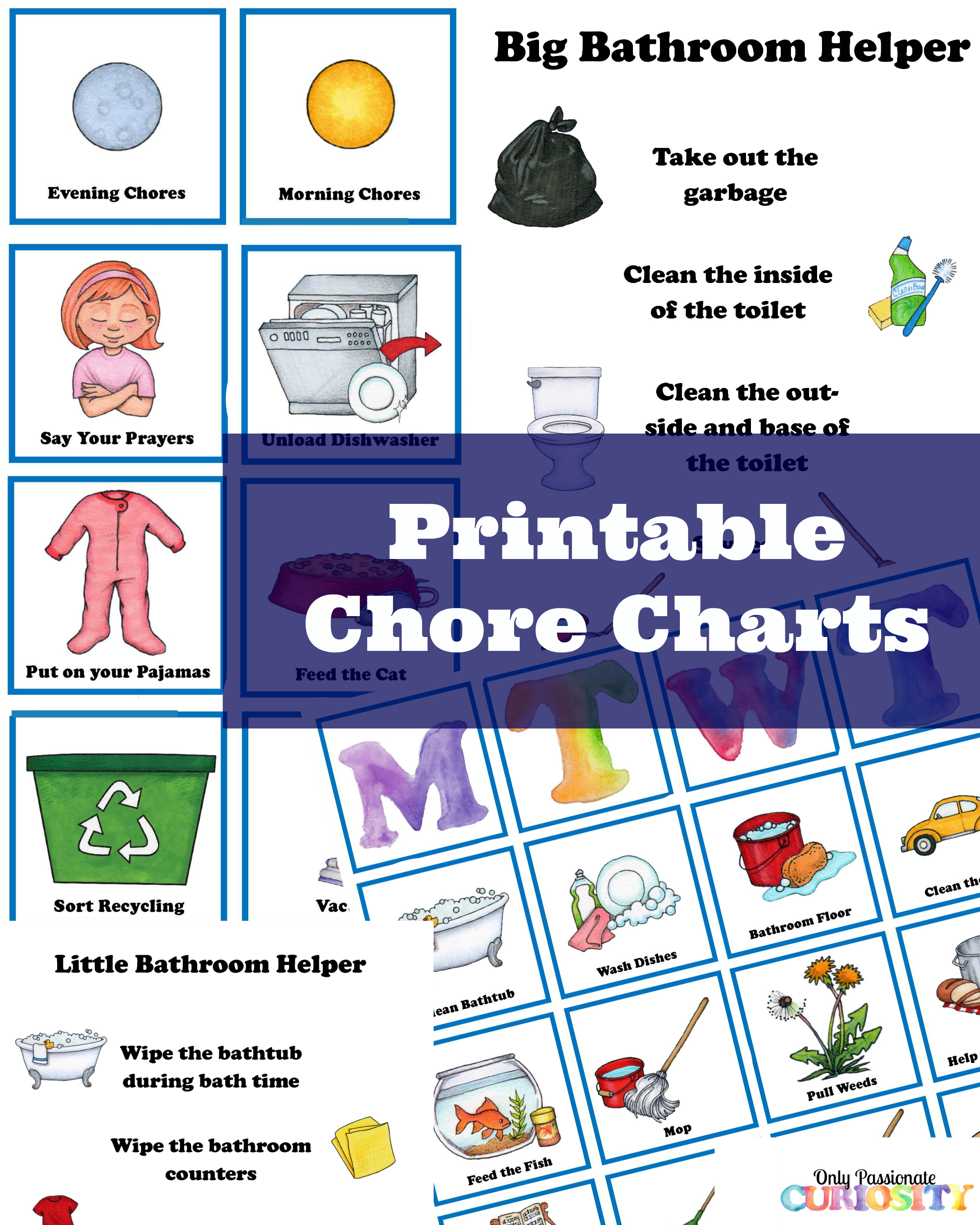 graphic relating to Printable Chore Cards titled Chore Chart and Helper Lists
