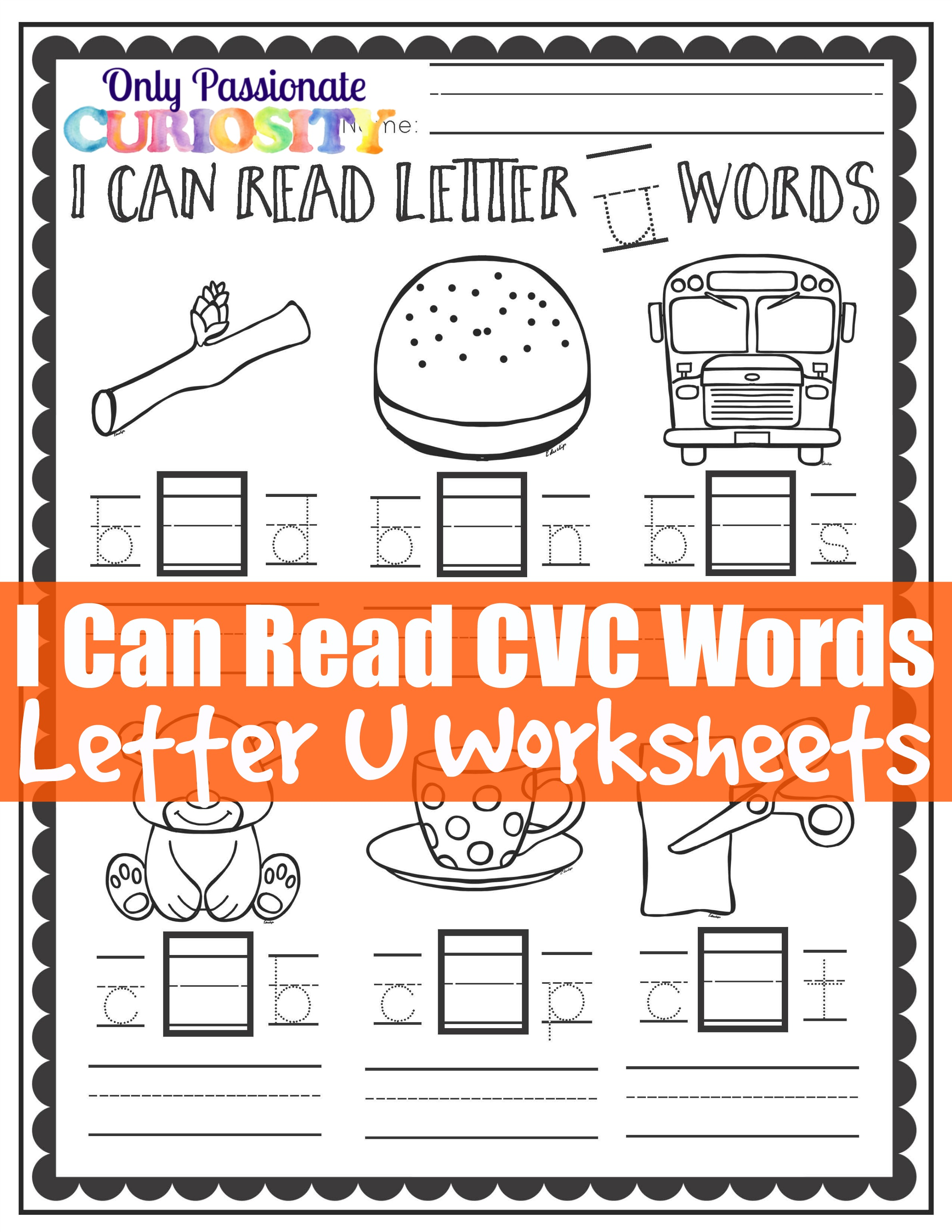 Cvc Worksheets Middle U Words Only Passionate Curiosity