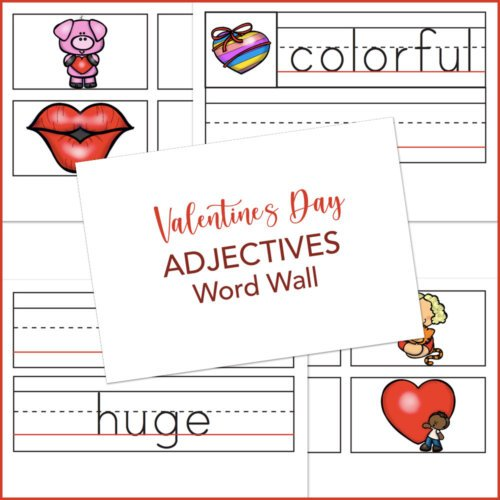 Valentines Day adjectives worksheets and pictures