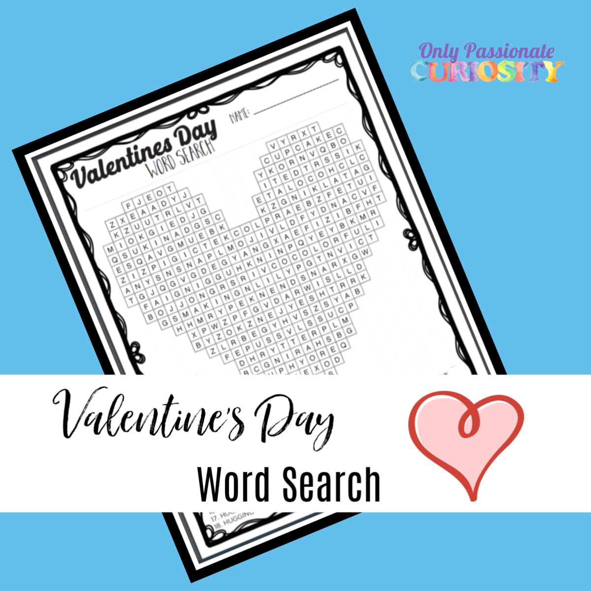 word search for Valentine's Day