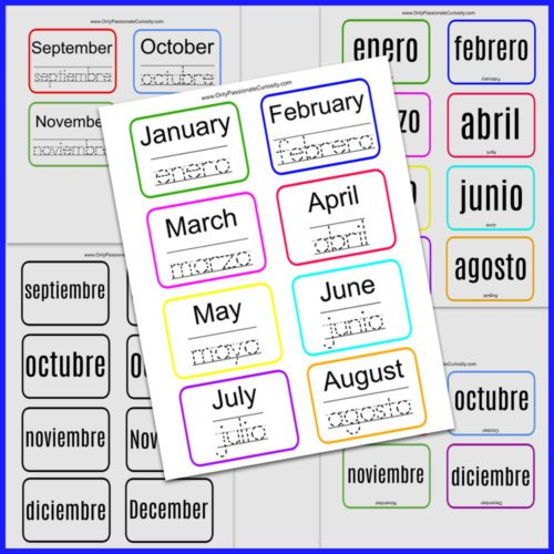 pages for learning the months in Spanish
