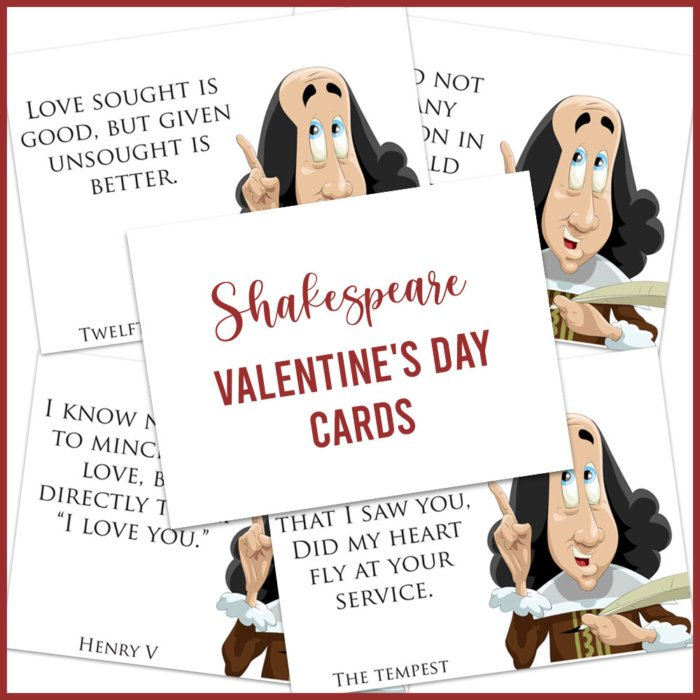 image of Shakespeare Valentine's Day cards