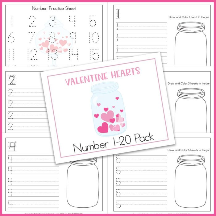 practice for numbers 1-20 with Valentine's Day theme