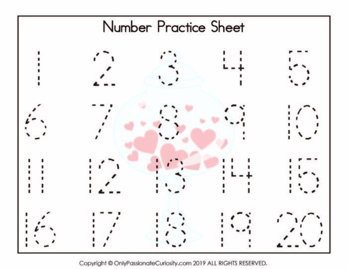 numbers 1-20 practice sheet